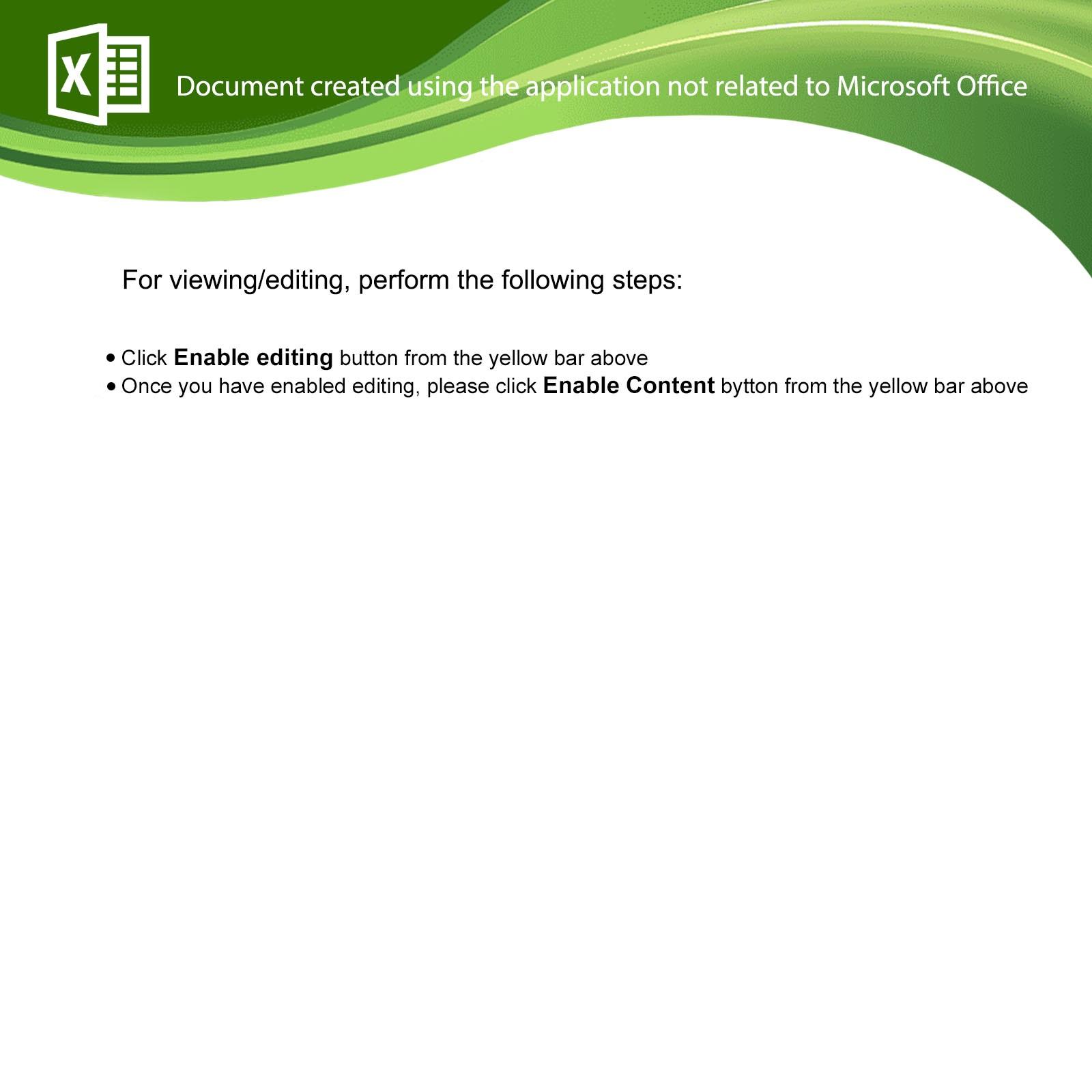 Screenshot of Excel document