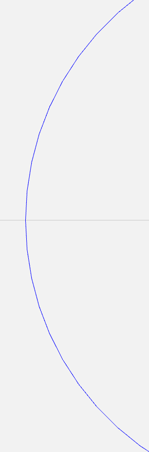 Left side of the visualized G-Code for a circle with circular interpolation enabled, showing a truer approximation